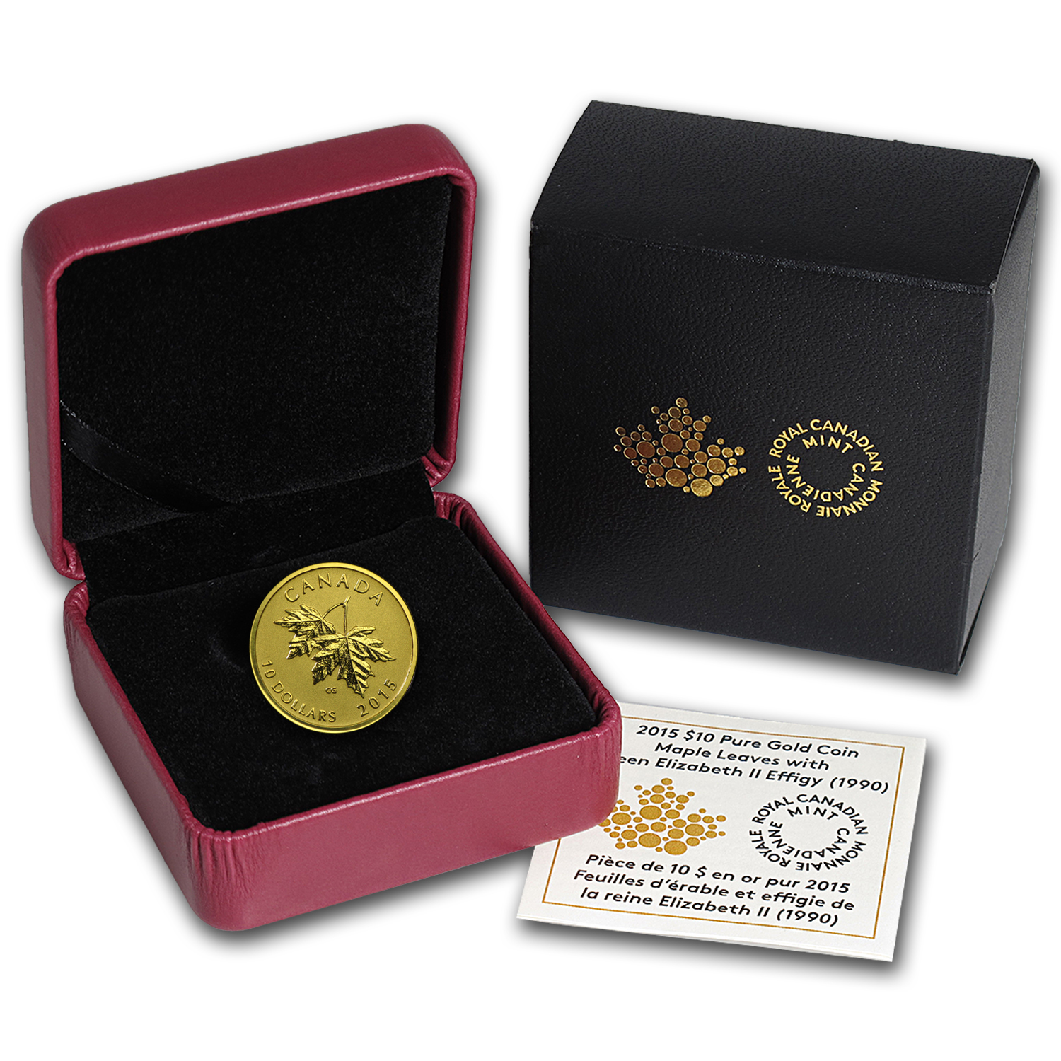 2015 Canada 1/4 oz Gold $10 Maple Leaf (1990 Queen Effigy)